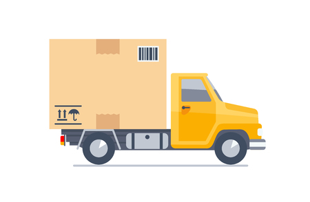 Delivery truck transporting a cardboard package. Flat modern vector illustration.