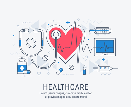 Healthcare modern linear style vector concept. Abstract illustration for medical, health, care, medicine, network.