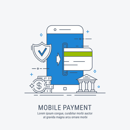 Mobile payments. Safe payments. Thin line modern vector illustration. For web design.