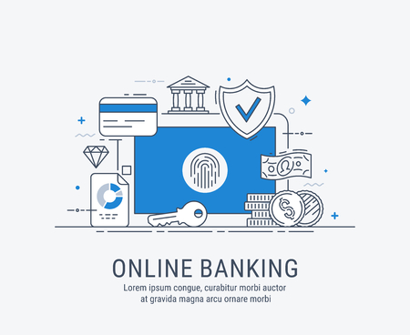 Online banking, security payments, transactions, investments and deposits, advanced information technology. Modern thin line vector illustration. 일러스트