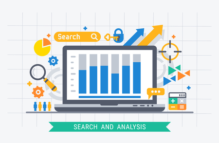 Search and analysis. Flat modern vector illustration for web. 스톡 콘텐츠 - 102705469