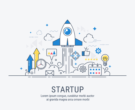 Startup concept with thin line flat modern design for web. 일러스트