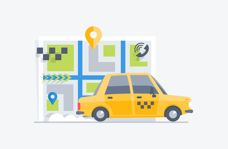 Car taxi on the map background. Flat modern vector illustration. 스톡 콘텐츠 - 102232790