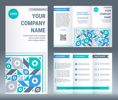 Tri-fold brochure corporate business template design. Geometric modern vector illustration in flat style. 스톡 콘텐츠 - 102705466
