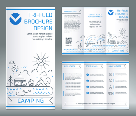 Tri-fold brochure template, on the topic of recreation and tourism. Camping and fishing tools. Vector modern line art illustration.