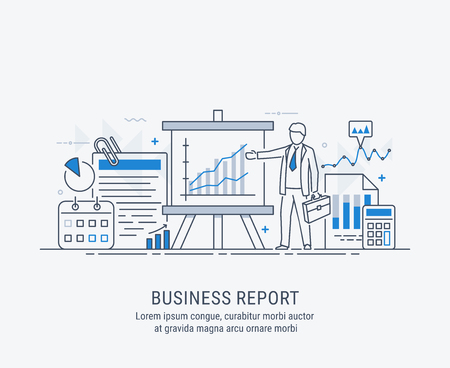 A manager reporting marketing the show graphs, on tripod stand. Reporting concept. Vector modern thin line illustration. 일러스트