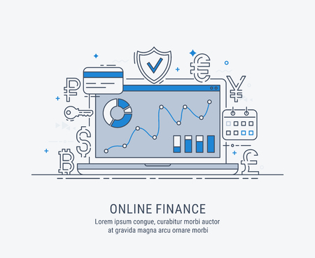 Online finance, security payments, transactions, investments and deposits, advanced information technology. Modern thin line vector illustration.