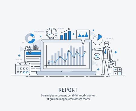 Un gestionnaire de rapports commercialisant les graphiques du spectacle, sur un écran d'ordinateur portable. Concept de rapport. Illustration de vecteur ligne mince moderne.