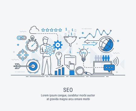 Modern flat thin line design vector illustration, concept seo optimization in search engine, for graphic and web design.