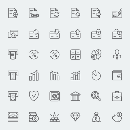 Banking and financial icons set. Line art vector black and white illustration. For your website or mobile application.