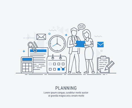 Flat line illustration of business planning, market research, analysis, business management, strategy, finance and investment, business success. For web banners and printed materials.