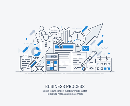 Flat line-art illustration of business process, market research, analysis, planning, business management, strategy, finance and investment, business success. Concept for web banners and printed materials.