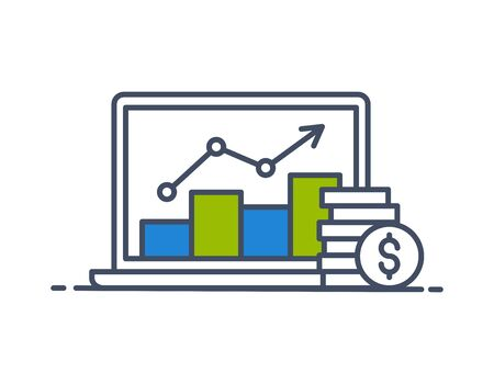 Investments. Profit data. Laptop screen with data analysis and coins. Modern thin line style. Vector illustration. Illustration
