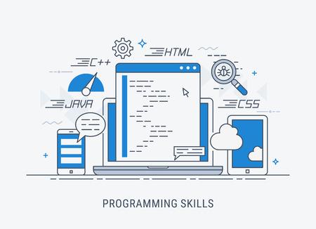 Programming and coding skills. Development and debugging. Flat modern line-art vector illustration.