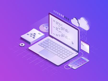Program code on laptop screen. Software development, programming, coding concept. Isometric flat vector illustration. Illustration
