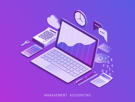 Management accounting. Workplace and tools for manager. Modern vector isometric illustration.