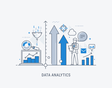 Modern thin line design for data analytics website banner. Vector illustration concept for business analysis, market research, product testing, data analysis.