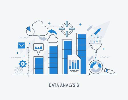 Design moderno e sottile per banner del sito Web di analisi. Concetto di illustrazione vettoriale per analisi aziendale, ricerche di mercato, test di prodotto, analisi dei dati. Vettoriali
