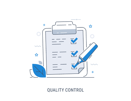 Quality control check. Flat modern line-art vector illustration. Ilustrace