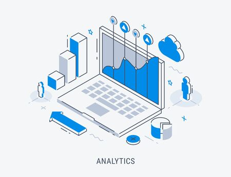 Modern isometric thin line design for analysis website banner. Vector illustration concept for business analysis, market research, product testing, data analysis.
