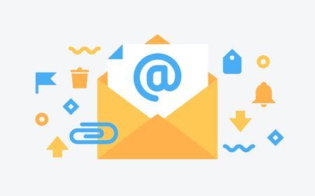 Email service. Flat  vector illustration. Electronic mail message concept as part of business marketing. Webmail or mobile service layout for website landing header. Newsletter sending background.  Illustration