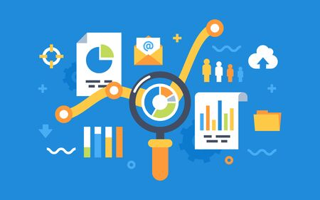 Modern flat design for analysis website banner. Vector illustration concept for business analysis, market research, product testing, data analysis. Illustration