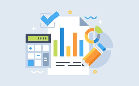 Auditing concepts. Tax process. Research, project management, planning, accounting, analysis, data. Vector illustration flat design.  Illustration