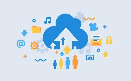 Cloud storage download flat vector illustration. Digital service or app with data transfering. Online computing technology.  Illustration