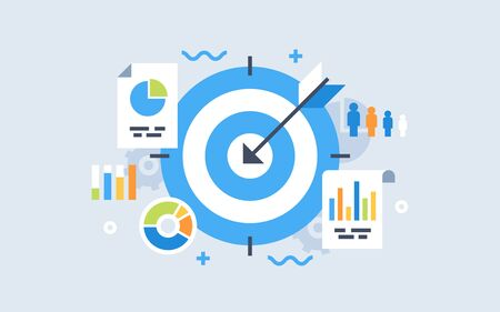 Modern flat design for analysis website banner. Vector illustration concept for business target analysis, market research, product testing, data analysis.