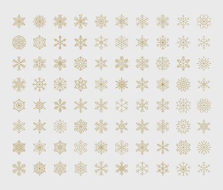 Big set of vector geometric snowflakes. Set of 80 elements. For use in Christmas, New Year and winter design. Illustration