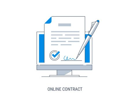 Notion de vecteur de signature électronique. Signature d'un contrat avec une signature électronique. Illustration vectorielle moderne plat.