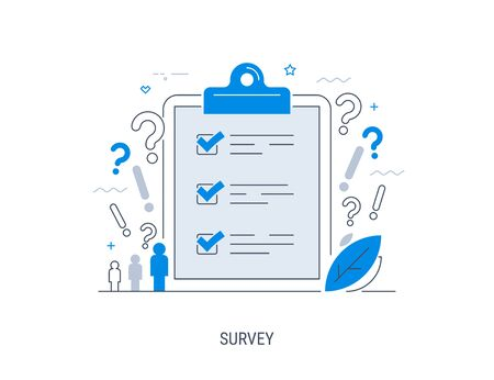 Survey. Vector illustration. Flat concept with quality test and satisfaction report. Feedback from customers or opinion form.