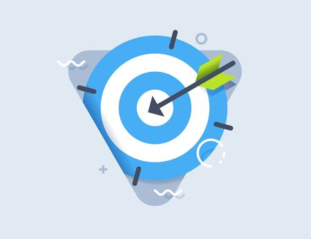 Target icon in flat style. Arrow in the center aim. Vector design element for you business projects.