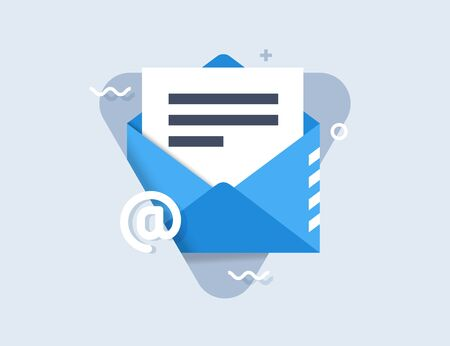 Concept of email notification icon. Envelope with document and symbol email. Successful e-mail delivery, email delivery confirmation, notification, subscription confirmed, successful verification concepts. Modern flat design vector icon. Illustration