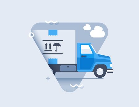 Truck of cargo delivery. Transportation delivery concept. Flat Design Icon.