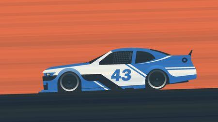 A blue racing car on a race track. Vector illustration.