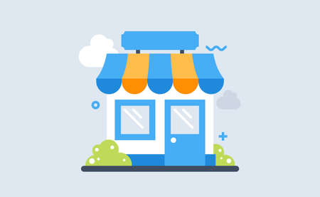 Shop facade flat line art design vector illustration, small retail shop building front view isolated on white background