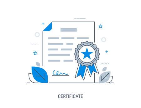 Product certification in line-art vector illustration.