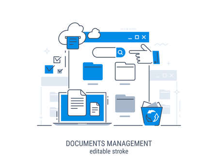 Documents management. File manager, data storage. Files search. Editable stroke vector illustration. Illustration