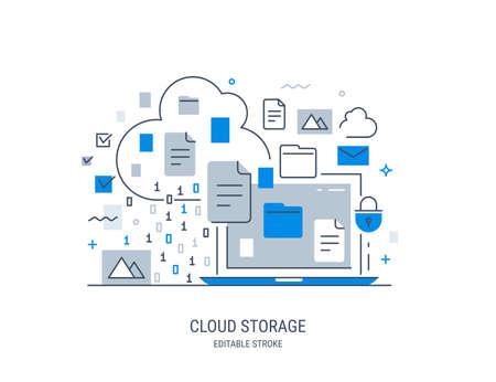 Modern vector illustration of cloud storage. Information sharing and saving. Editable stroke. Illustration