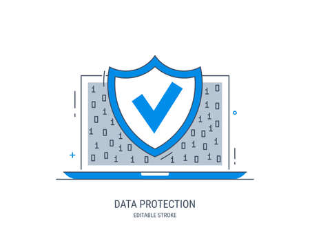 Data protection. Internet security. Antivirus protection. Editable vector illustration in style line art.