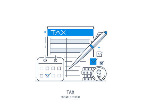 Tax payment concept. State taxation, tax return calculation. Tax form. Pay bills, invoices, salaries. Vector illustration. Line art style. Editable stroke.