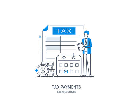 Tax payments concept. State taxation, tax return calculation. Tax form. Pay bills, invoices, salaries. Vector illustration. Line art style. Editable stroke.