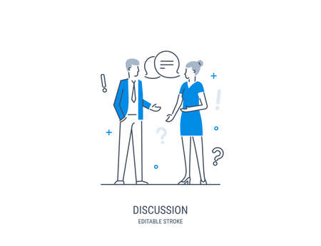 Discussion, collaboration, teamwork power, share opinion, brainstorming. Conversation of a man and a woman. Vector illustration. Editable stroke. Illustration