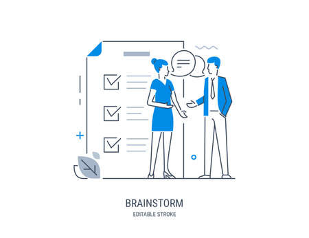 Brainstorm. Business people discussing. Businessman teamwork office meeting communication concept. Professional conference employee. Vector line art illustration. Editable stroke.