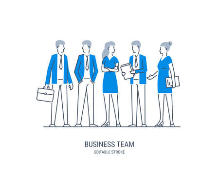 Business people set. Businessman teamwork office meeting communication concept. Professional conference employee. Vector line art illustration. Editable stroke. Illustration