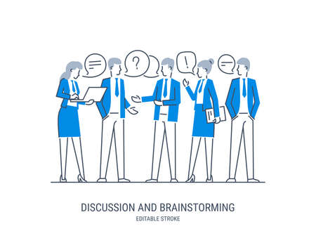 Discussion and brainstorming in team concept. Group of business people at work, office meeting. Professional communication. Vector illustration. Editable stroke.