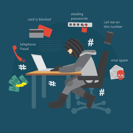 Modern types of fraud. Phone Scam. IT scammers. Hackers. Ilustrace
