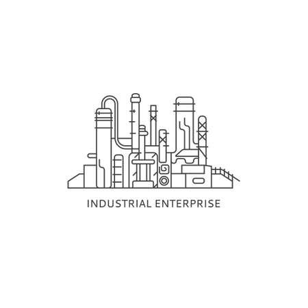 Industrial factory vector illustration. Enterprise icon. Industrial plant contour illustration