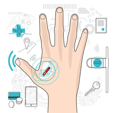 Microchip under the skin illustration. RF tag in the hand. Spying on people. Future chipping technologies
